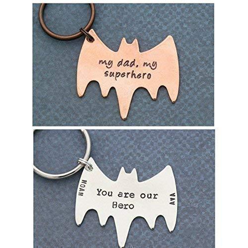 Superhero Keychain – DII ABC - Bat Keyring – Father Dad Boyfriend Hero Deployed Gift – Handstamped Quote - 35.7MM x 29.3MM Batman Shape Disc - Fast 1 Day Shipping ()