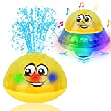 Eutreec Bath Toy, 2 in 1 Squirt Spray Water Toy LED Light Up Float Toys Automatic Induction Sprinkler Space UFO Car Toys for Baby Toddler Infant Kids Bathtub Shower Pool Bathroom