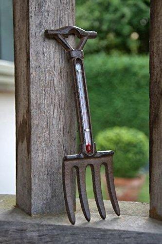 Thermometer in Form einer Grabgabel, Gusseisen