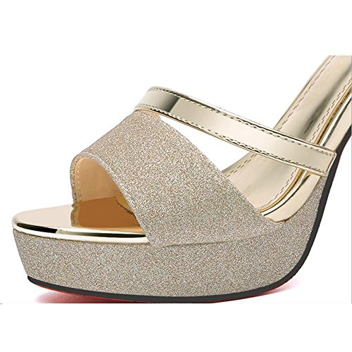 Sandals CJC Womens Platform High Heel Ankle Strap Wedding Club Prom Party Shoes (Color : Silver, Size : EU39/UK6.5) Gold