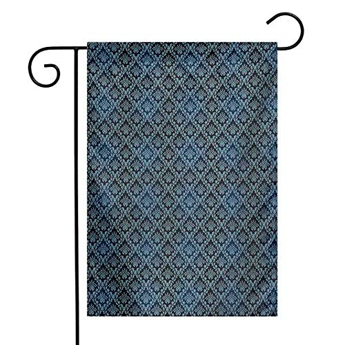 Mannwarehouse Damask Garden Flag Ancient Old Flourish in Ornate Style Venetian Art Inspirations Rich Baroque Premium Material W12 x L18 Pale Blue Dark Blue