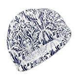 Oasws Boy/Girl Child Swimming Cap High Elasticity, Waterproof and Comfortable Swimming Shower Cap Short Hair and Long Hair, Tribal Boho Blue Damascus Pattern Winter Abstract Geometric Ethnic Aztec