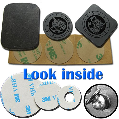 Replacement Kit for Magnetic Phone Car Holder 3M Adhesive Metal Plate Slim metallic Disc Alcohol Wiper [Dashboard Air Vent Mount] GIFT Sticky Pad Non-slip Washable Reusable Gooey Mat by Tiger'sPaw (Disk Holder Steel)