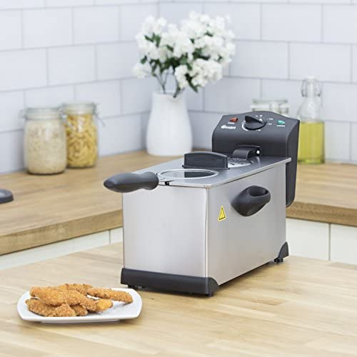 Swan 3L Stainless Steel Deep Fat Fryer with Viewing Window and Safety Cut Out, Non-Slip, Easy Clean and Adjustable Temperature Control, 2kW, SD6040N, 2000 W, 3 liters, Silver