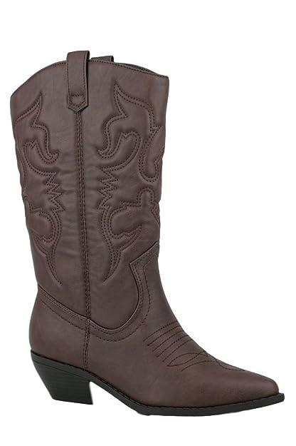 0f0d71f2b32 SODA Women's Reno-S Knee-High Pointed Toe Western Cowboy Boots