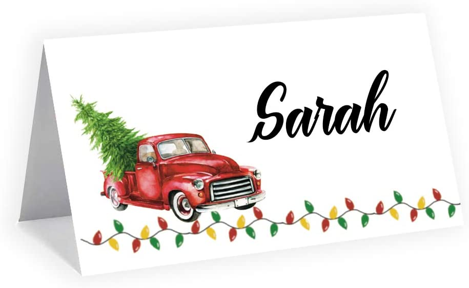 Red Door Inspirations Red Truck Place Cards, Food Labels or Gift Tags, 30 count variety pack featuring 15 each of Truck with Tree and Truck with Presents