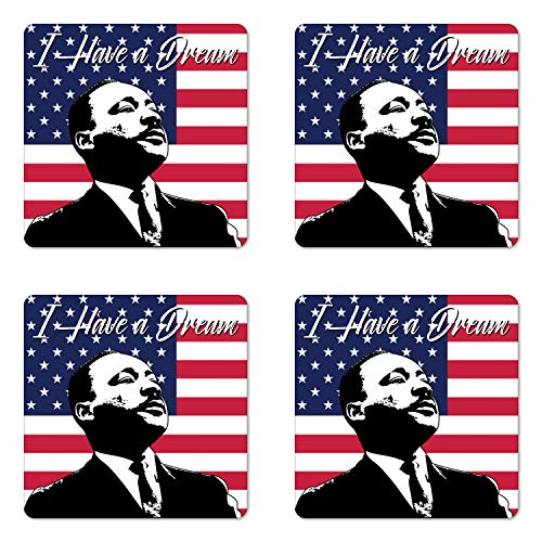 (Ambesonne Americana Coaster Set of Four, Black and White Martin Luther King Portrait United States Flag and Famous Quote, Square Hardboard Gloss Coasters for Drinks, Multicolor)