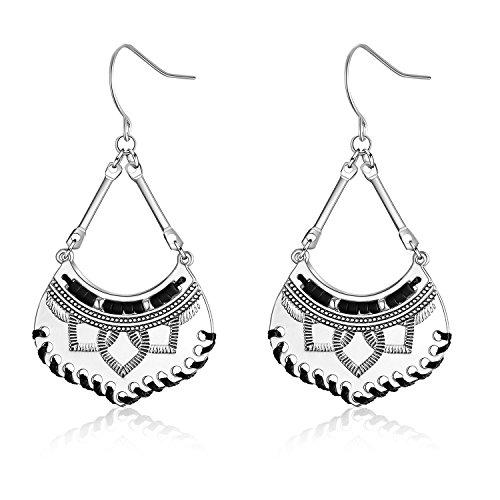 Beaded Earrings Handmade Bohemian Drop Tassel Earrings for Women Girl (Silver Black) ()