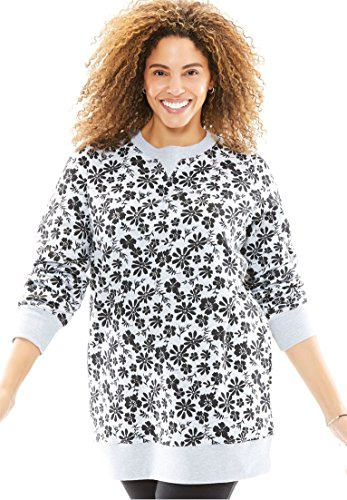 Woman Within Women's Plus Size Fleece Sweatshirt Black Heather Grey Floral,3X (3x Sweatshirts)