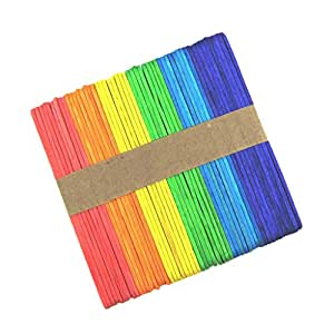 MagiDeal 50 Pieces Mixed Colors Flat Wooden Popsicle Stick Kids Hand Crafts Art Ice Cream for Kids Children DIY Building Modelling Crafts