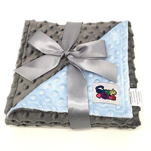 (Reversible Unisex Children's Soft Baby Blanket Minky Dot (Light Blue/Grey))