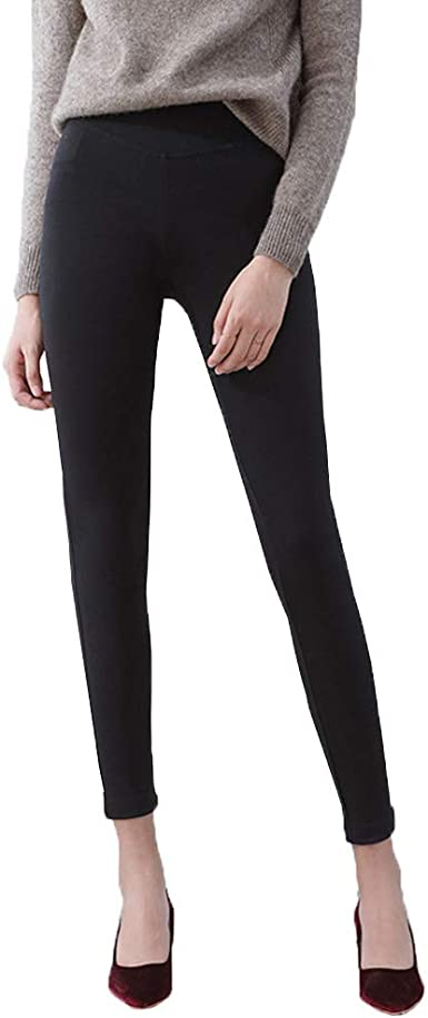 Women S Slim Fit Pencil Pants Elastic Waist Jeggings Tights Leggings Regular Tall Stretch Dress Leggings Skinny Work Pants At Amazon Women S Clothing Store