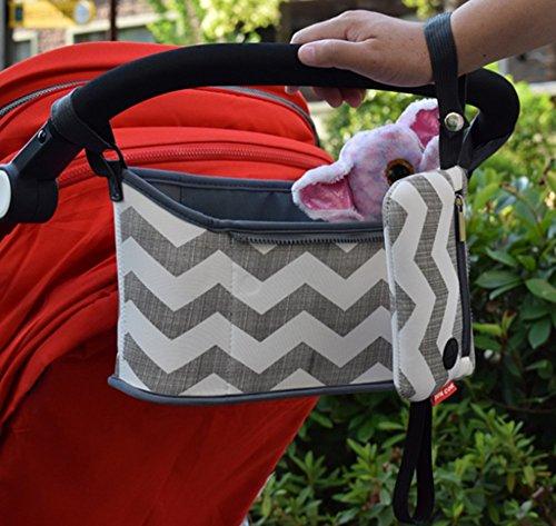 Bolso de Cochecito de Bebé Bolsas Cambiadores de Carritos Cesta Colgante de Almacenamiento Organizador Maternidade Accesorios de Silla de Paseo, Rayas Negro
