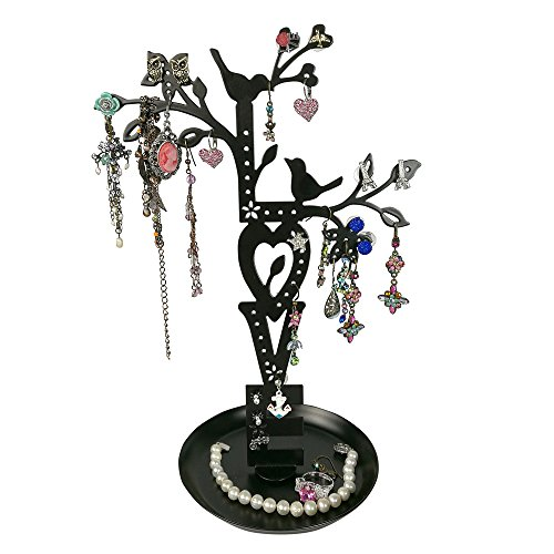 LOVE Jewelry Tree Stand Black with Two Lovebirds Tweeting, Removable Magnet Bottom, Tray Base, Metal by JewelryNanny (Image #1)