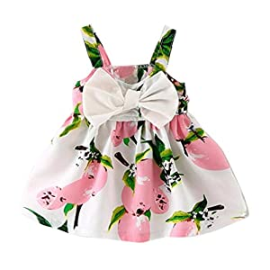 Baby Princess Dress,BeautyVan Fashion Cartoon Baby Girl Clothes Lemon Printed Infant Outfit Sleeveless Princess Dress (6M, Pink)