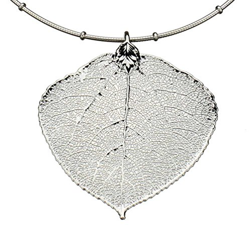 """Silver-Plated Aspen Leaf Pendant Sterling Silver Omega Beads Chain Necklace, 16""""+2"""" Extender"""