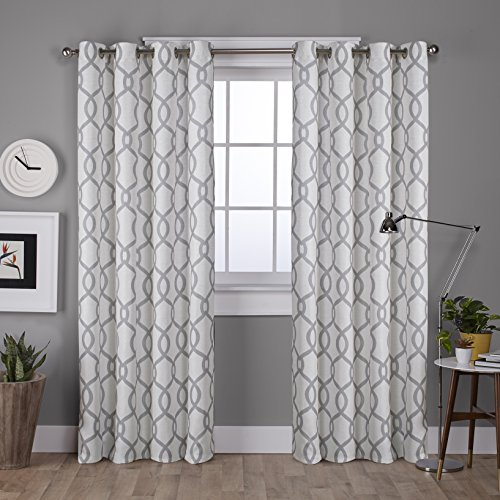 Exclusive Home Curtains Kochi Linen Blend Grommet Top Window Curtain Panel Pair, Dove Grey, 52&# ...