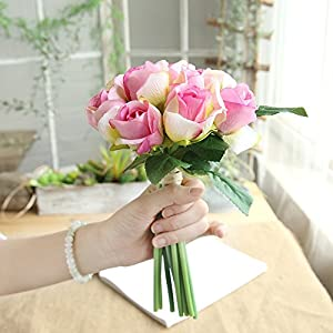 MaxFox 11 Head Artificial Flower,Fake Roses Bridal Holding Bouquet For Wedding Party Home Arrangements (Hot Pink) 60