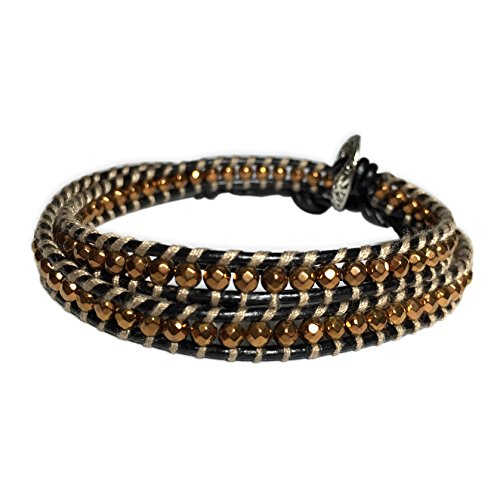 J.Shine Double Wrap Slim Leather Bracelet for Men With Shiny Brown Bead & Toggle Fastening Gb564