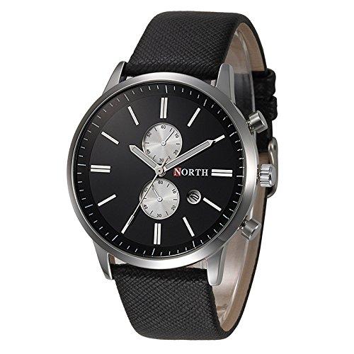 Relojes de Hombre - NORTH moda hombres casual delicado diseno fecha cuero de la PU militar reloj regalo Negro: Amazon.es: Relojes