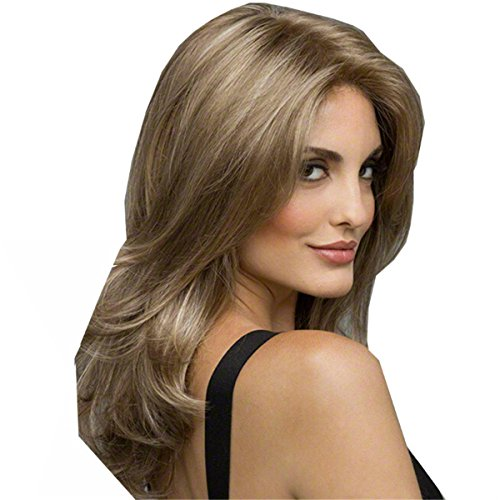 [YX Women Sexy Long Curly Wig Synthetic Wig 50CM 20INCH(Light Brown Ombre)] (Long Sexy Wigs)