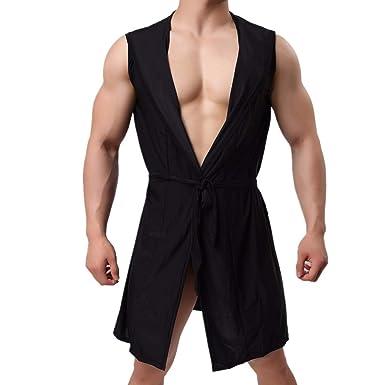 45ccbf23fa15 MIRRAY Men Nightgown Bathrobe Sleeveless Sleepwear Nightwear Man ...