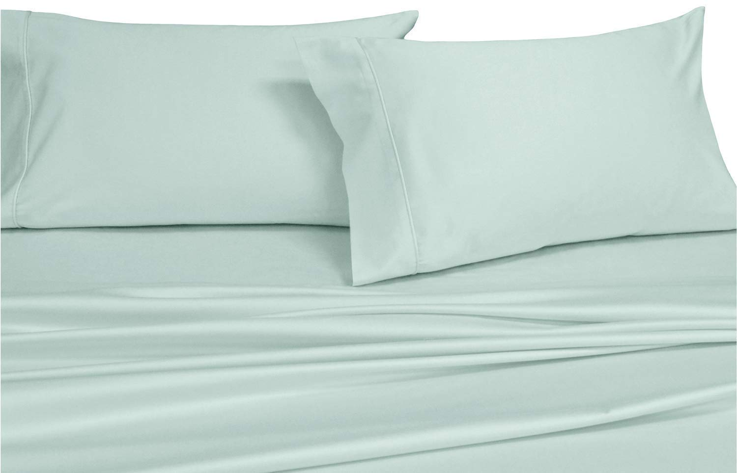 Royal's Solid Sea 550 Thread Count 2PC Standard Pillowcases Set 100% Combed Cotton, Sateen Solid