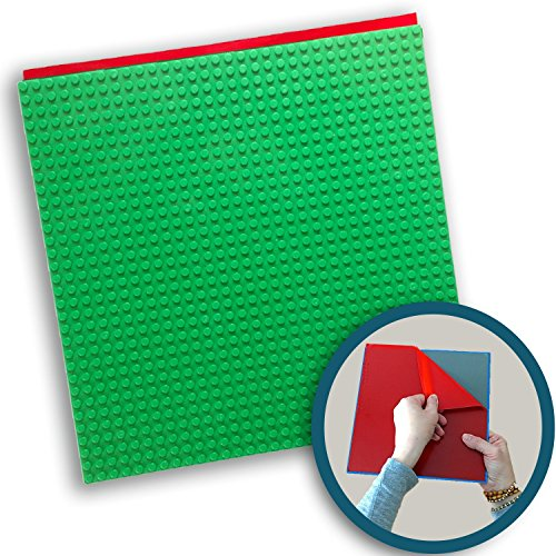 Peel-and-Stick Baseplates - Self Adhesive Building Brick Plates - Compatible with All Major Brands - 1 Pack - Green - 10 inch x 10 inch - by Creative QT