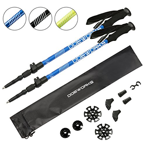 DOEWORKS Collapsible Lightweight Travel Trekking Poles 7075 Aluminum, Shock-Absorbent, Innovative Flip Lock and Twist Lock Combined, Navy Blue, 2018 New Design (4 Carbide Tungsten Crosses)