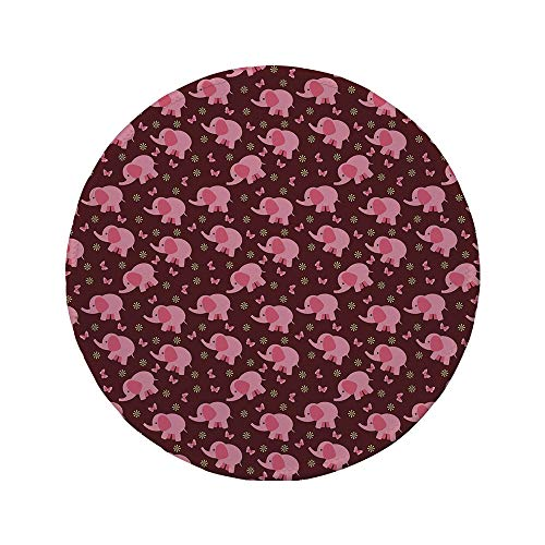 Non-Slip Rubber Round Mouse Pad,Elephant Nursery Decor,Baby Elephants Butterflies Flowers Sweet Girls Room Decorative,Burgundy Light Pink Yellow,7.87