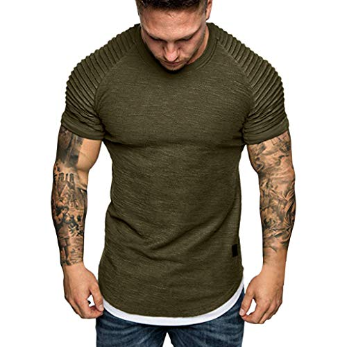 Patterns Trinity (Chiccc Men' Workout Athletic Muscle Shirts Fashion Men's Summer Pleats Slim Fit Raglan Short Sleeve Pattern Top Blouse)