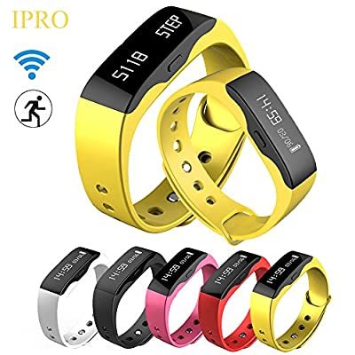 Activity Tracker Watch for Women/Men,IPRO Garmin Pedometer Calorie Counter Running Smart Bracelet w/ Sleep Monitor 12H/Military Time Anti-lost Call SMS Alert Wristband for IOS iphone&Android