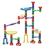 Image of Marble Run Set, Magicfly 83 Pcs Marble Race Track for Kids, 48 Translucent Marbulous Pieces + 32 DIY Marbles + 3 Glass Marbles, Upgrade Top Quality Marble Starter Set