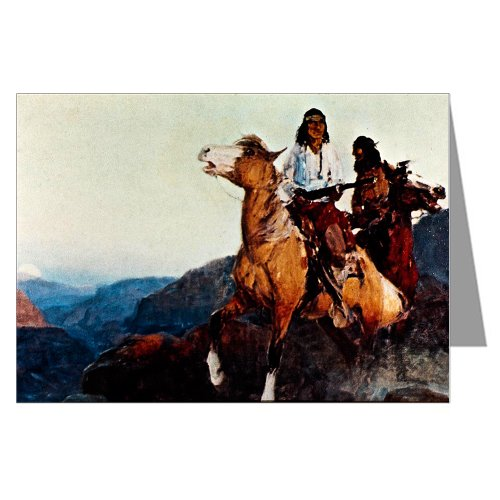 Single Vintage Cowboy Art Greeting Card Showing Geronimo Chief of Apache Warriors