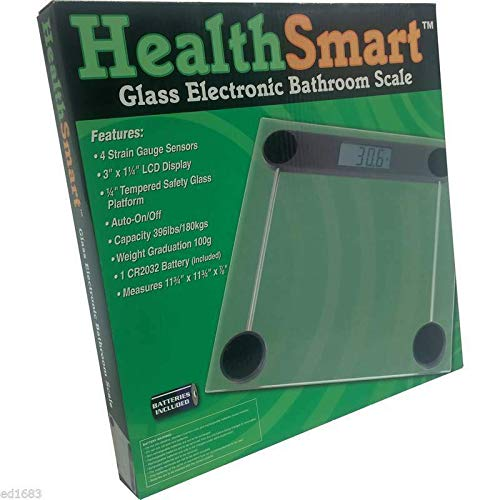 Glass Electronic Bathroom Scale w/ 3''x 1-1/4'' LCD Display, Auto On/Off, 396lbs H46500