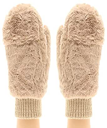 MIRMARU Women's Winter Fully Lined Faux Fur Flip Cover Mitten Gloves. (Beige)