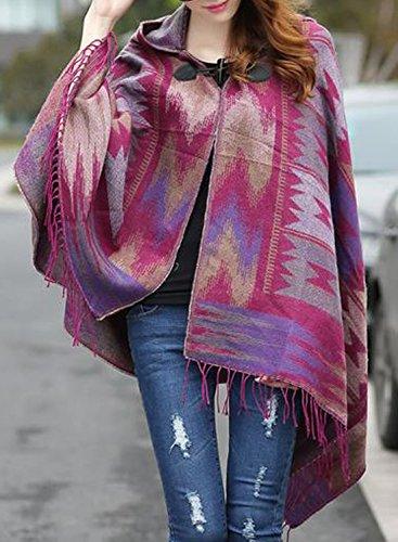 futurino de esquí para mujer Floral Jacquard cuadros con capucha Poncho Cape Light Coverup Hot Pink