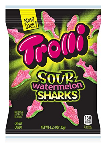 (Trolli Sour Watermelon Sharks Gummy Candy, 4.25 Ounce Bag, Pack of)