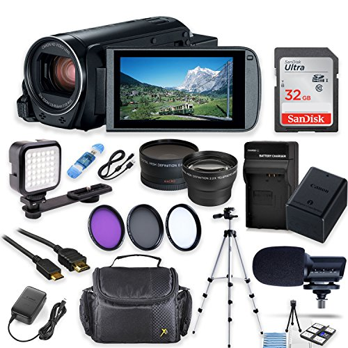 Canon Vixia HF R80 Wi-Fi 1080p HD Video Camera Camcorder + 32GB Card + Battery & Charger + Camera Case + Tripod + LED + Microphone + 2 Lens Kit