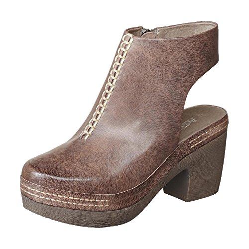 Antelope Women's 999 Leather Bid Front Clog Heel Grey