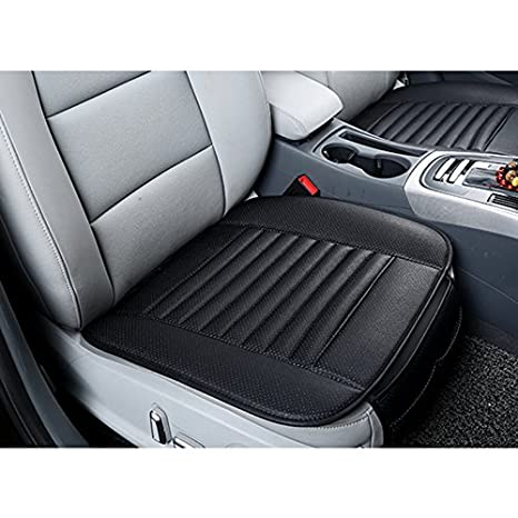 HONCENMAX Car Seat Cover Cushion Pad Mat - Breathable Auto Seat Protector - Car Interior Auto Supplies - PU Leather Bamboo Charcoal - 2PCS Front Seat Cover & 1PCS Long Rear Seat Cover