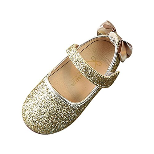 Simayixx Shinning Sequins Bowknot Slip on Mary Jane Glitter Shoes for Girls (9M, Gold)