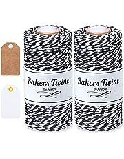 Anstore Zwart en wit touw, 200M katoenen bakkers touw ambachtelijke katoenen draad duurzame string voor bakken, tuinieren, slagers, doe-het-zelf ambachten, geschenkverpakking