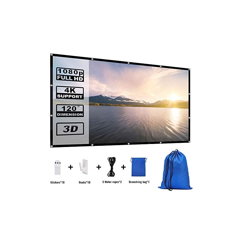 Yome 120 Inch Projector Screen, 16:9 HD