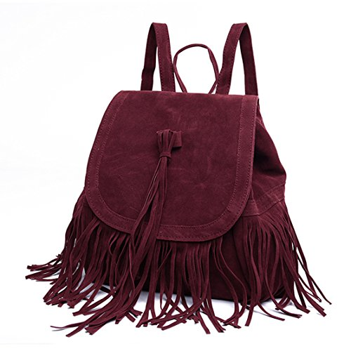 Sunwel Fashion Outdoor Shoulder PU Tassel Drawstring Suede Backpack Casual Beach Shopper Traveling Rucksack School Bookbag Satchel