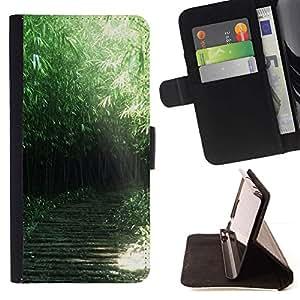 For Samsung Galaxy Note 4 IV Case , Naturaleza Verde Forrest- la tarjeta de Crédito Slots PU Funda de cuero Monedero caso cubierta de piel