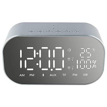 Reloj Despertador Sueños Durmientes Dormitorio Niños Relojes de Escritorio Pantalla Digital Temperatura Radio FM Altavoz Snooze Mirror Dimmer (Color : B): ...