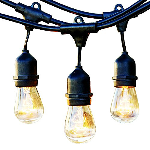 Gold Round Four Prong - String Lights - Outdoor Weatherproof Commercial Grade Lighting - 11watt S14 Incandescent Bulbs with 15 Hanging Sockets - 19 Bulbs (15 + 4 gift) - 48-Ft - by Ideapro