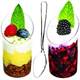 DLux™ Mini Dessert Cups, Appetizer Bowls & Spoons with Recipe e-Book [Clear Plastic, 2.5 oz, Round Slanted, 32 Count] Small Catering Supplies, Disposable Parfait Glasses,Tasting Tumblers, Shooters