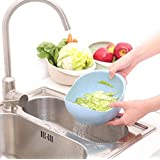 FHD Multi-purpose Prep Bowl with Integrated Colander/ Mixing Bowl/Rice Washer and Strainer/Vegetables Basket (Blue)